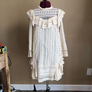Free People Cream Lace Dress XS